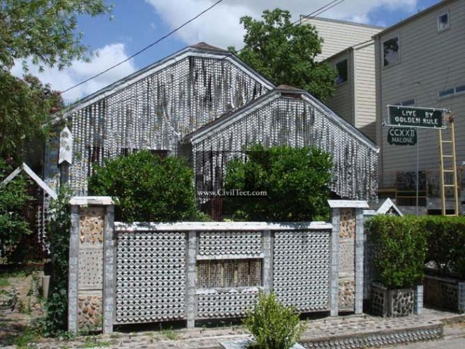 خانه ای ساخته شده از قوطی نوشیدنی فلزی