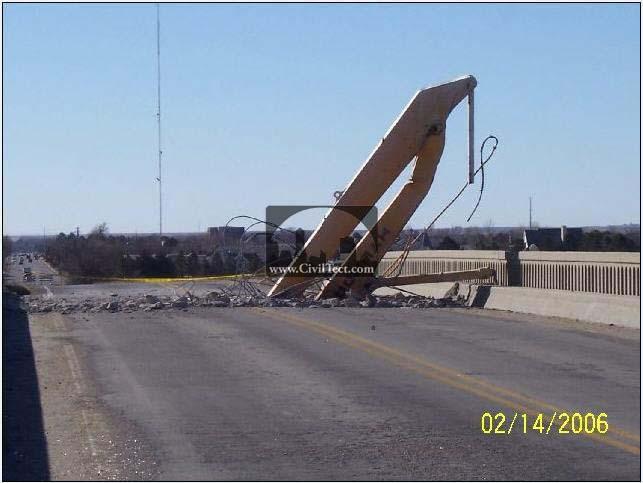 تصادف بیل مکانیکی معکوس با پل بتنی!