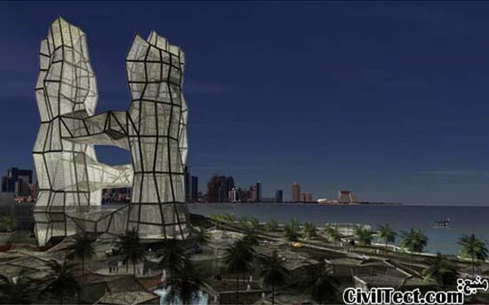 طرح پیشنهادی برج مدرن با نمای غشایی – دوحه