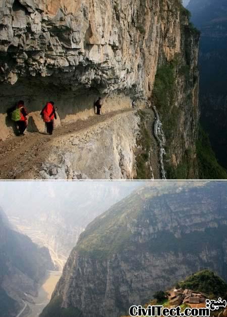 مسیر مدرسه با ارتفاع 5000 فوت چین - وحشتناکترین مسیرهای جهان
