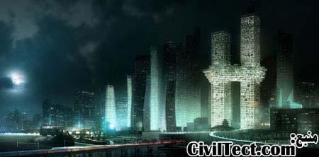 نمای کلی برجهای متصل در کنار دیگر پروژه های منطقه پس از تکمیل شدن در آینده
