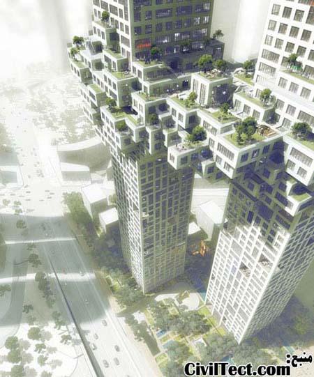 10 طبقه ارتباطی دو برج که به شکل توده پیکسلی طراحی شده است.