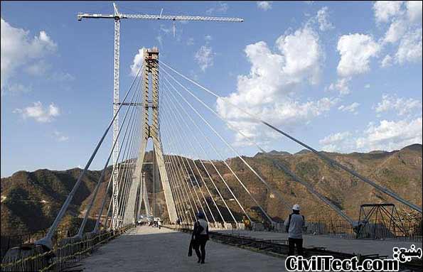 عکسی از زمان ساخت بلندترین پل معلق جهان - پل بالوآرته بیسنتناریو مکزیک