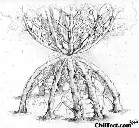 طرح کلی ساختمان ساخته شده از درختان زنده