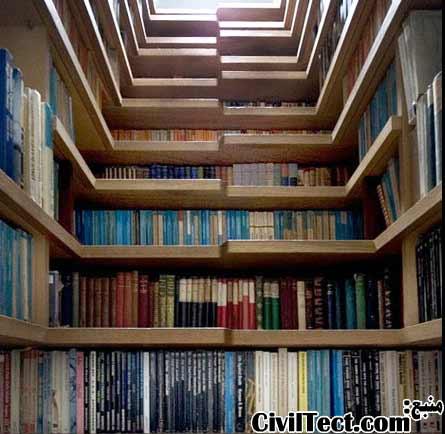 راه پله های کتابخانه ای - قفسه کتاب