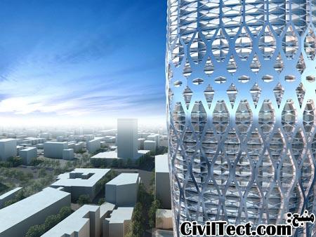 نمای سازه ای برج - سازه شبکه ای ساخته شده از پروفیلهای فولادی و پر شده با بتن نمای این برج را تشکیل میدهد