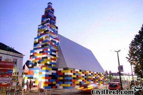 پاویلیون ساخته شده از قطعات غول پیکر لگو (Lego)