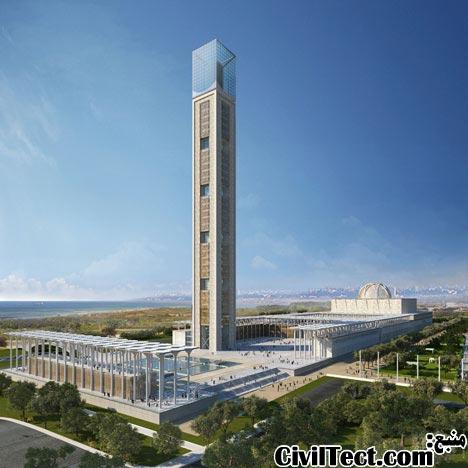 مناره مدرن مسجد - طرح معماری سومین بزرگترین مسجد دنیا