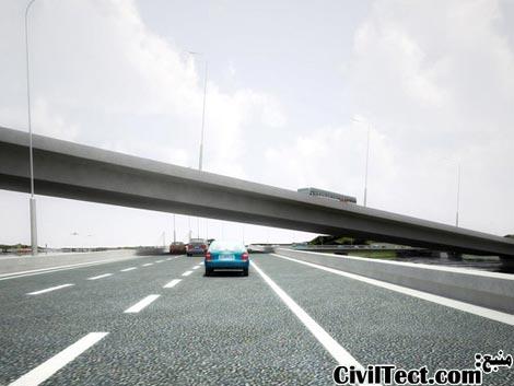نمایی که رانندگان پل زیرین در لحظه عبور از تقاطع میبینند
