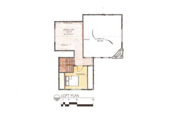 نقشه معماری طبقه دوم ساختمان چوبی
