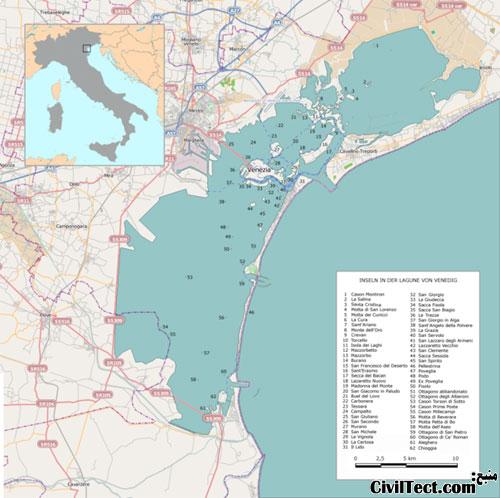 نقشه پروژه MOSE - محافظت شهر ونیز در مقابل خطر سیل