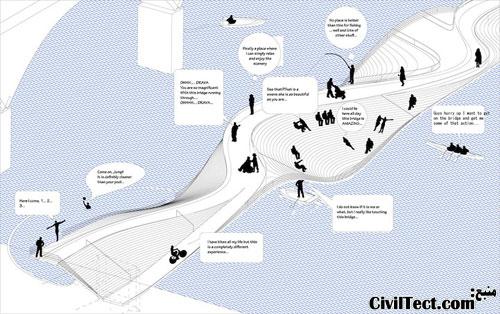 طرح معماری پل موجدار