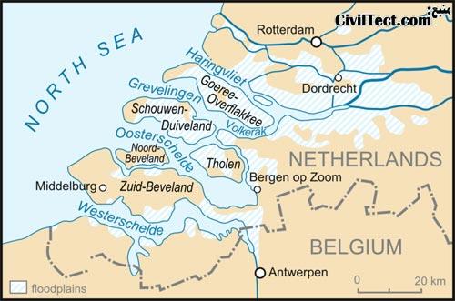 نقشه ای از مناطق سیل زده هلند به دلیل شکست سدهای دریابند در سال 1953