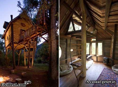 خانه چوبی در بالای درخت برای استراحت