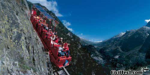 پرشیب ترین قطار تفریحی دنیا در ارتفاعات سوئیس
