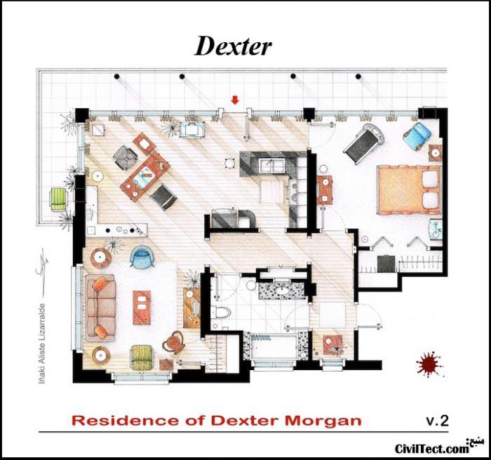 پلان معماری خانه سریال دکستر - Dexter