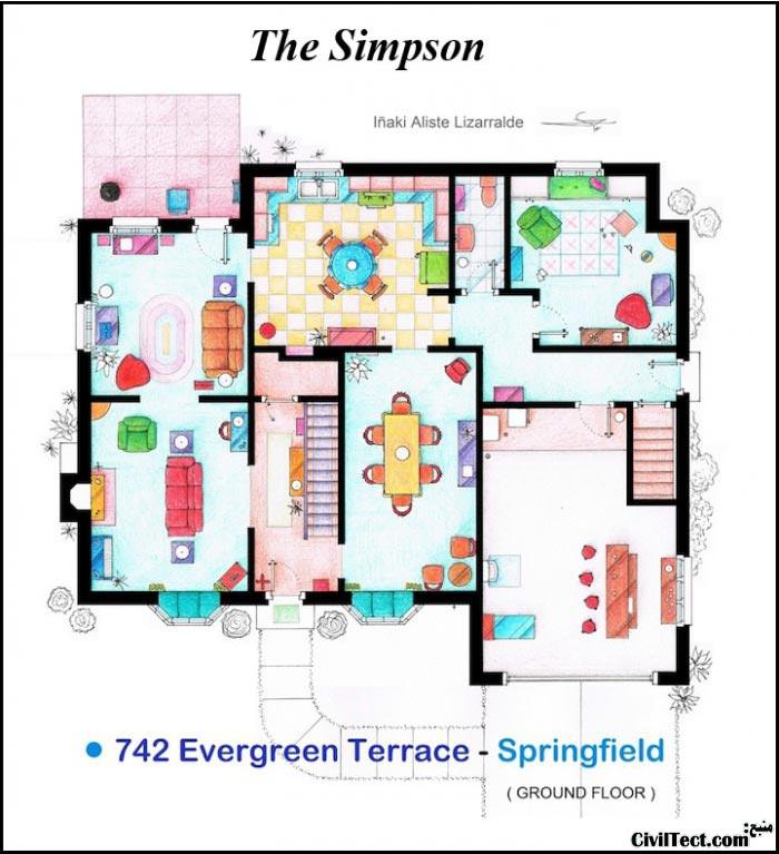 پلان معماری خانه سیمپسون ها - Simpsons