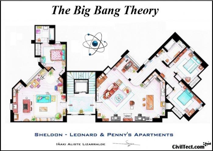 پلان معماری آپارتمان سریال تئوری بیگ بنگ - The Big Bang Theory