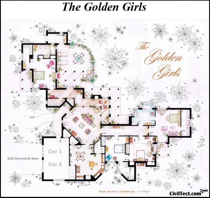 پلان معماری سریال دختران طلائی - The golden girls