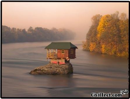 خانه ای در وسط رودخانه!