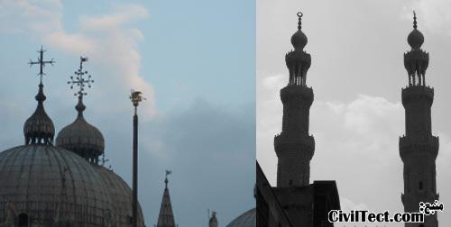 کلیسای سنت مارک (تصویر چپ) - مسجد Emir Altunbugha Al-Maradani (تصویر راست)