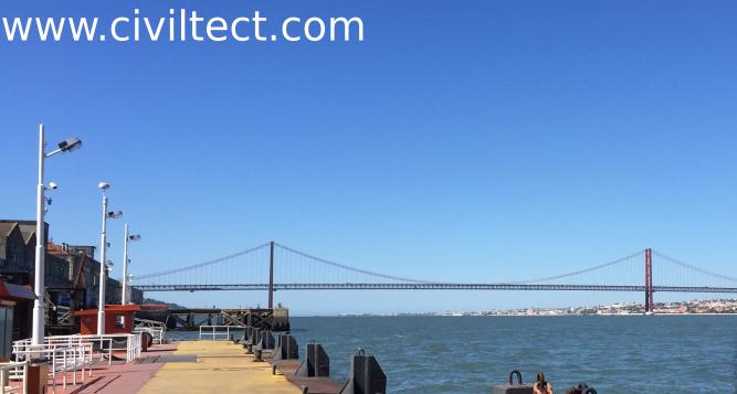 پل 25 آوریل لیسبون که طرحش مشابه پل گلدن گیت سانفرانسیسکو است