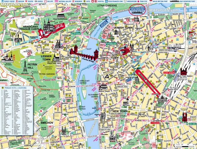 نقشه جاذبه های گردشگری پراگ (برای بزرگ کردن کلیک نمایید)