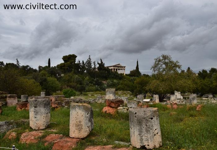 نمایی از معبد هفاستئوس در آگورای باستانی آتن